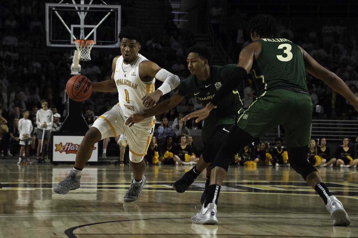 App State junior guard and leading scorer Justin Forrest drives during the Mountaineers' 64-55 win over Charlotte on Nov. 21.