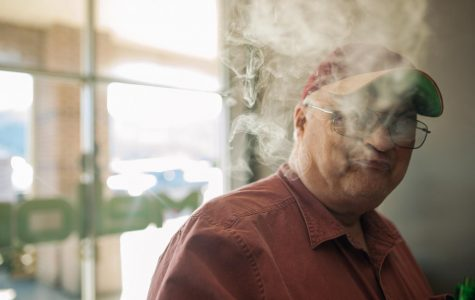 Michael Deck, a retired veteran, took up vaping to limit his reliance on cigarettes. He said 17 and 18-year-olds should be able to use tobacco products considering they can go into basic training and die for their country.