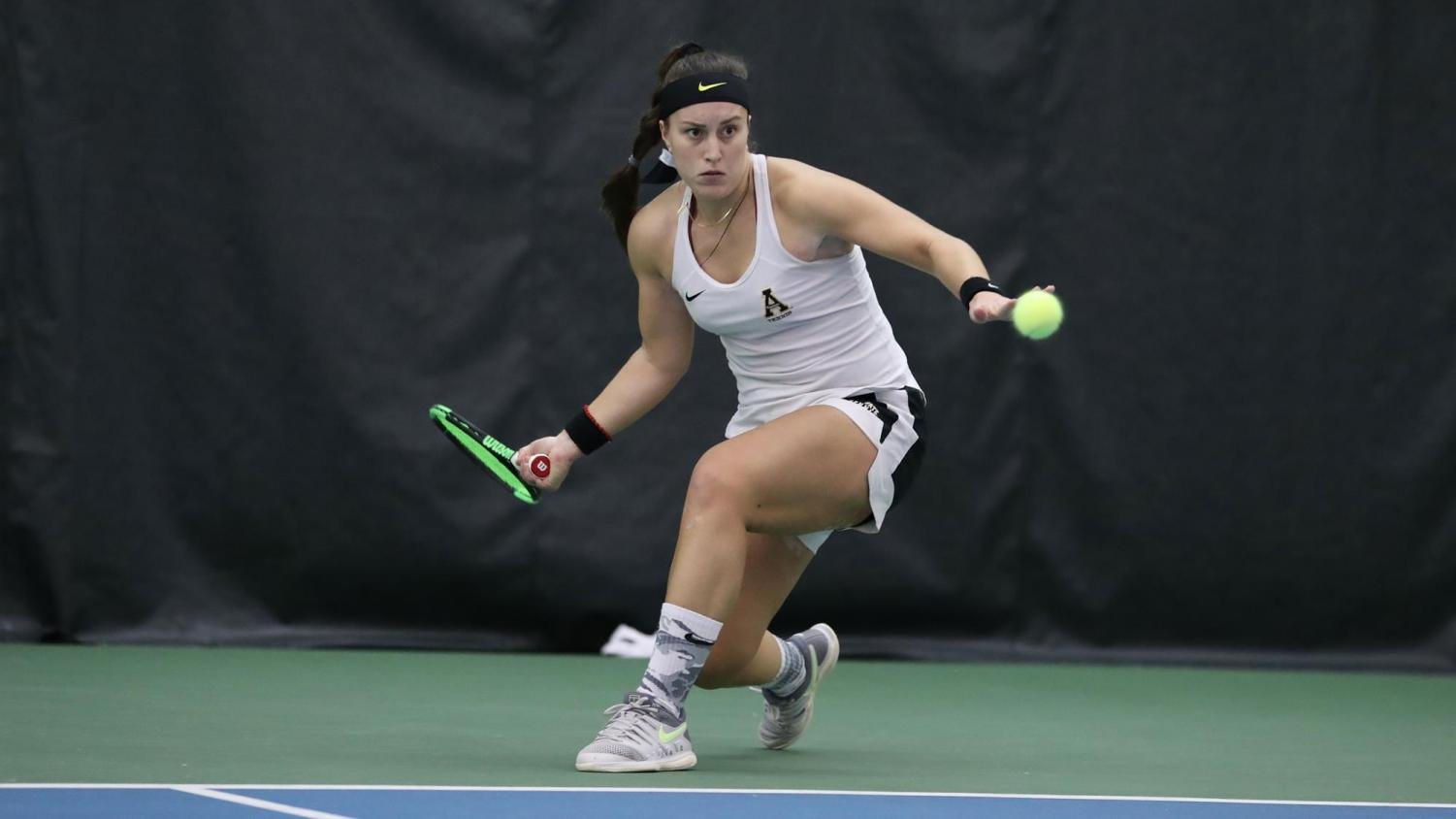Junior Teodora Sevo in action during a match last year. Sevo and the Mountaineers look to build off of what they accomplished a season ago.