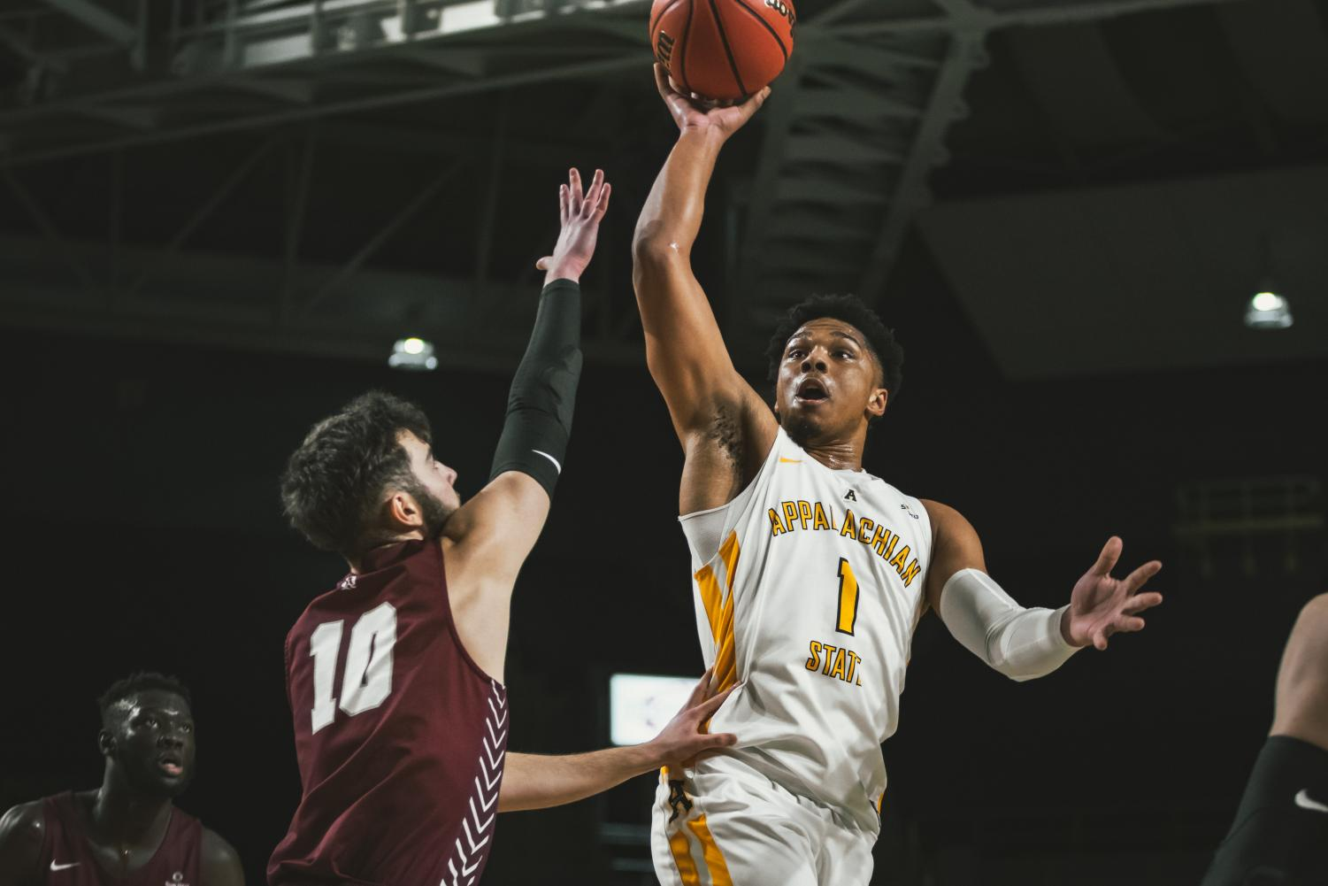 Junior guard Justin Forrest shoots a floater in App State's 73-57 loss to Little Rock on Jan. 19. Forrest finished with 22 points.