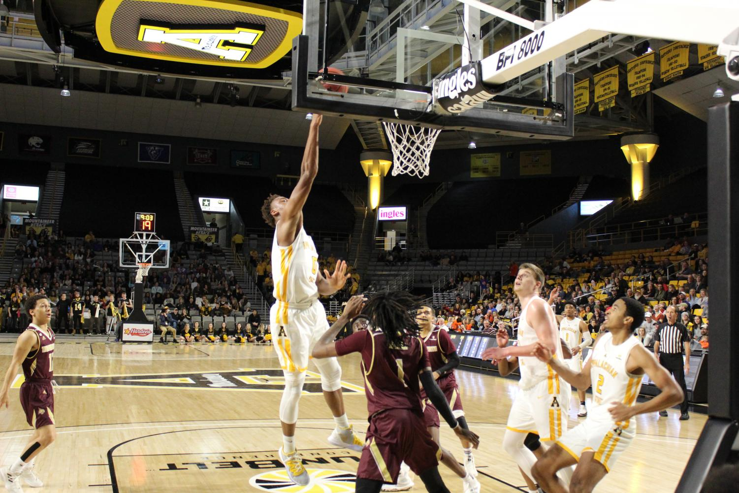 Senior forward Isaac Johnson goes up for a layup in App State's 60-57 win over Texas State on Feb. 8. Johnson finished with eight points and six rebounds in the game.