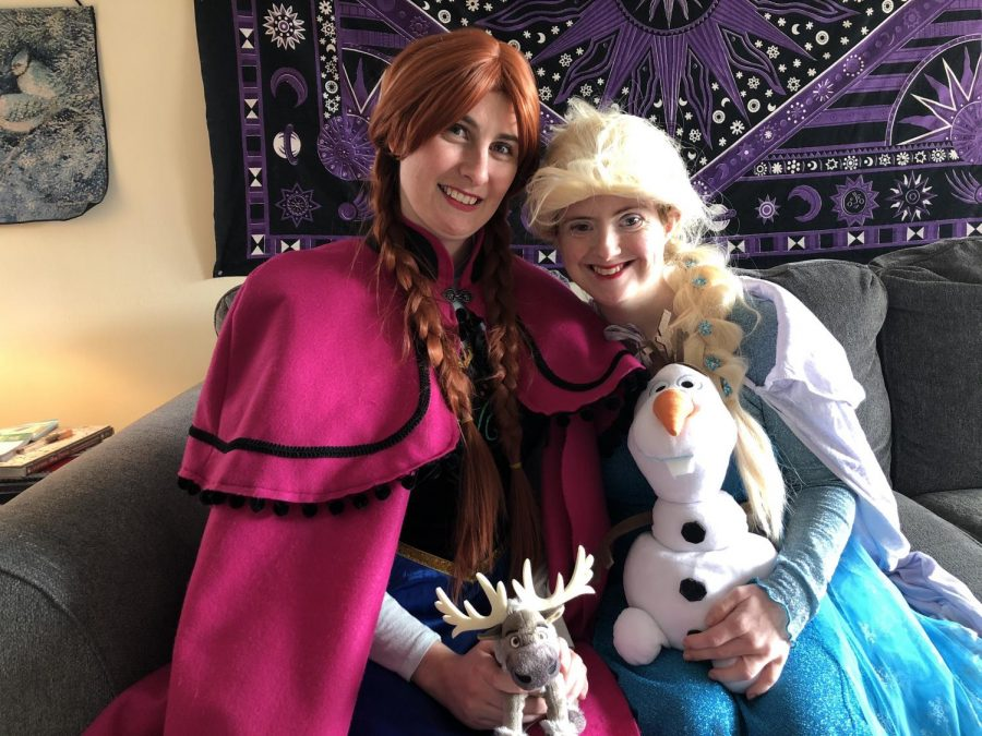 Emily Rayner and Moriah McKinney pose in their costumes as