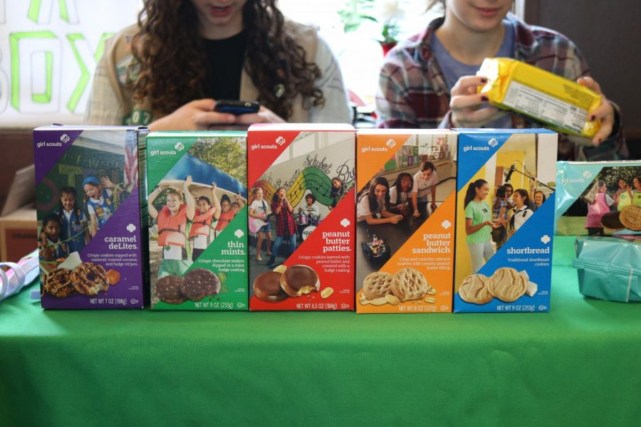 Girl Scouts of troop 10807 sold Girl Scout Cookies the morning of Jan. 25.
