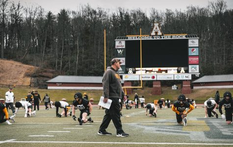 App State head coach Shawn Clark watches his team stretch during the first week of spring practices.