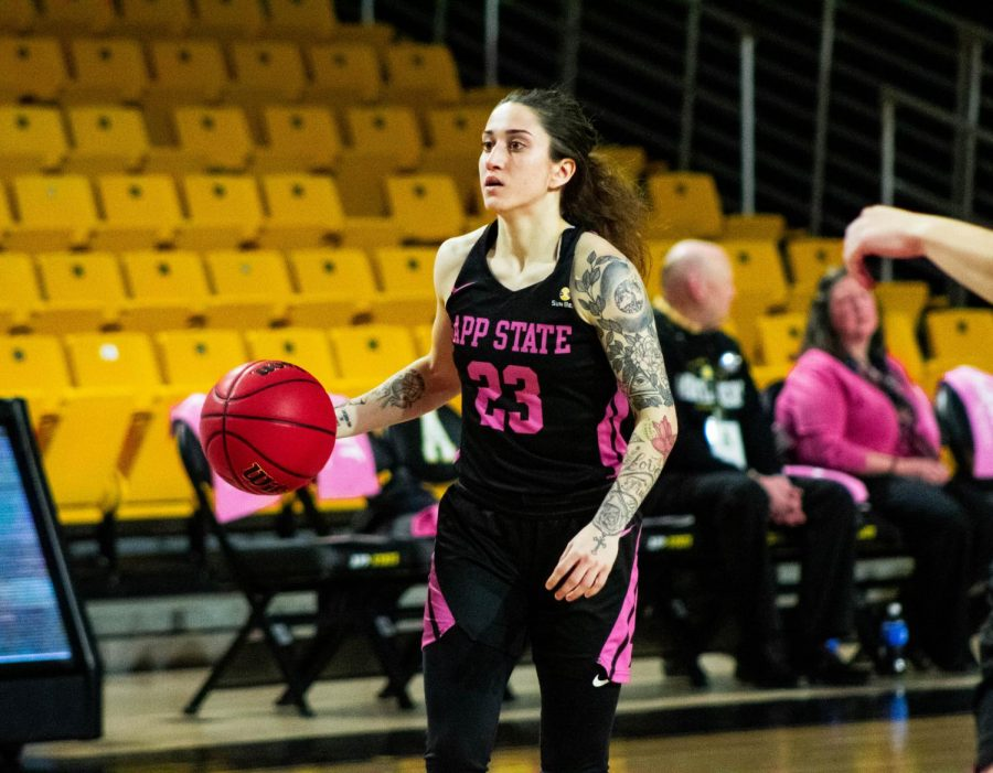 Redshirt senior guard Ashley Polacek leads the Mountaineers in assists and is second in scoring this season.