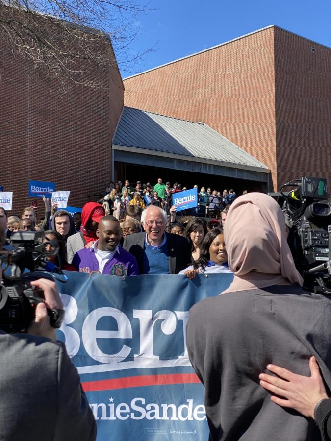 After his speech, Sanders marched half a mile, from Winston-Salem State University to a polling site with voters