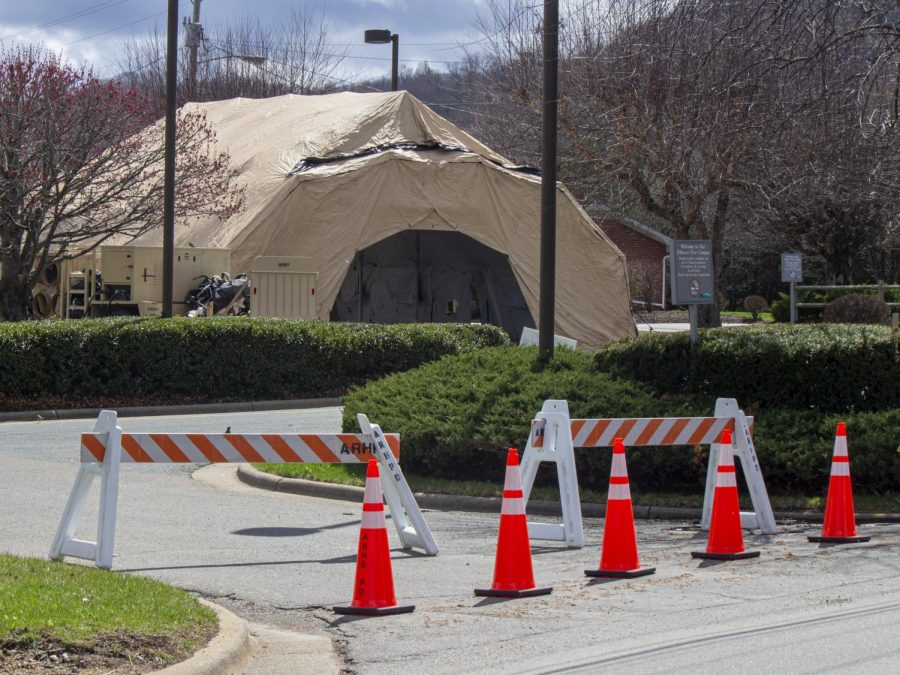 The tent in the Watauga Medical Center parking is a precaution for future need.
