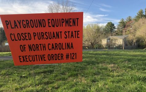 Jaycee Park off of Blowing Rock Road has signs informing people the playground is closed because of the most recent executive order.