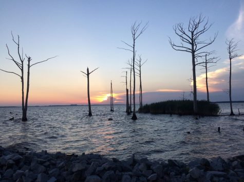 The sun sets along the Albemarle Sound in Camden County, N.C. The town is bridged to Elizabeth City by the Pasquotank River.