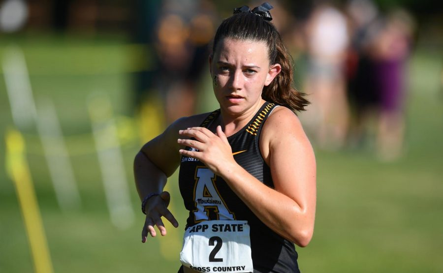Calek during an App State cross country race. She set a PR in the 5k with a time of 21:03. 2 at the Mountains to Sea Open on Sept. 20.