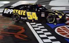 Kyle Busch won the Alsco 300 at Charlotte Motor Speedway while driving an App State branded car.