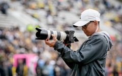 App State student and football video team member Vince Fortea shoots during a game in 2019. The football video team won first place in the Short Social category at this year's SAVVY awards.