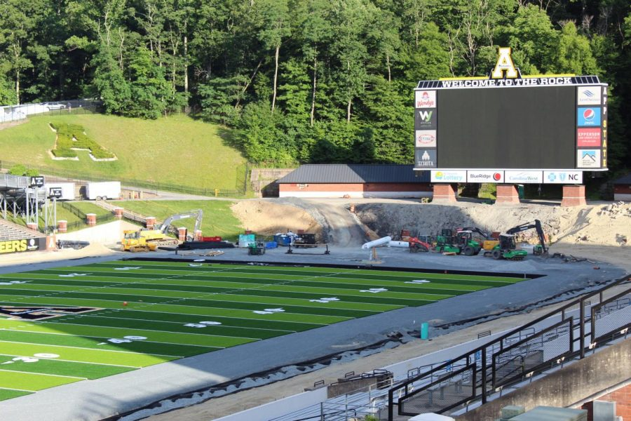 The new turf design is getting closer to being finished at Kidd-Brewer Stadium.