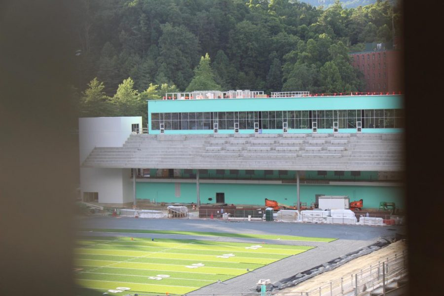 The north end zone  construction project has continued to progress. This is what the seating area currently looks like.