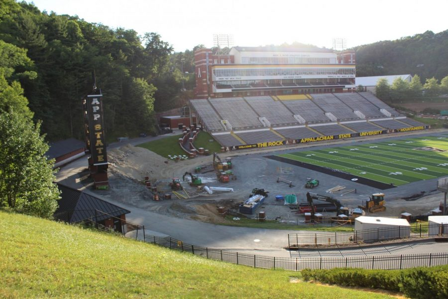 Along with the new turf, the track has been removed and construction is currently underway.