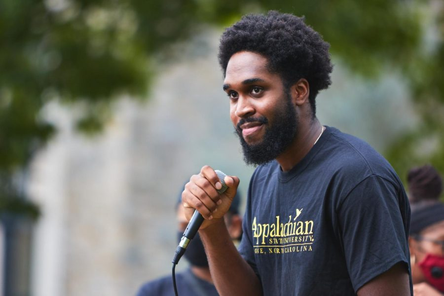 Senior Charles Fennell gives a speech during the