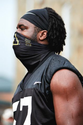 App State senior defensive end and captain Elijah Diarrassouba is a leader on and off the field. He helped organize and took the lead on speaking at the protest against racial injustice the team led thru Boone Aug. 28.