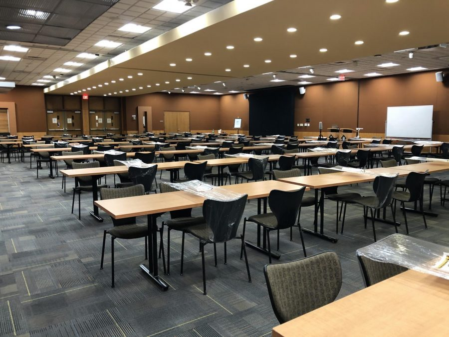 The Blue Ridge Ballroom in the Plemmons Student Union is currently set up as a classroom.