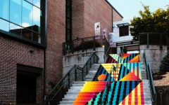 The mural on the stairs adjacent to the Turchin Center was painted by Jessiue Unterhalter and Katey Truhn