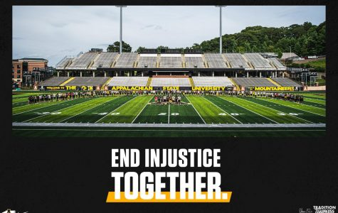App State football players and coaches shared this image on social media after opting to cancel practice Thursday. The decision to cancel practice came after a team-wide discussion about racial injustice.
