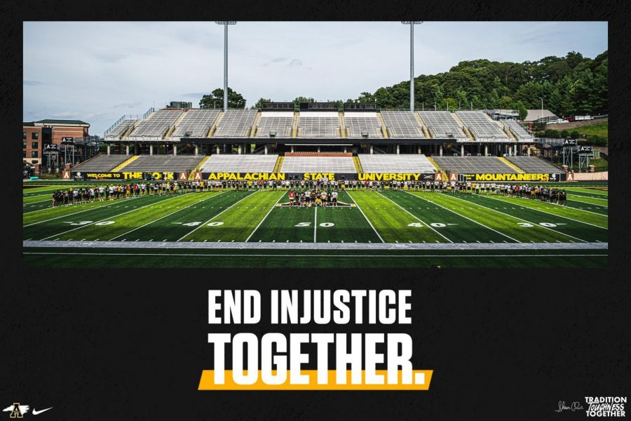 App+State+football+players+and+coaches+shared+this+image+on+social+media+after+opting+to+cancel+practice+Thursday.+The+decision+to+cancel+practice+came+after+a+team-wide+discussion+about+racial+injustice.+