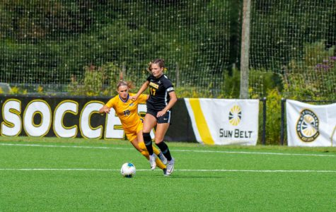 Senior midfielder/forward Tess Cairney in action during a loss against Pitt Sept. 13. On Friday, Cairney scored a goal in the 87th minute to lift App State past Troy 1-0 at the Ted Mackorell Soccer Complex.