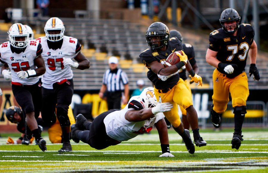 App State freshman running back Nate Noel gets a carry in the 52-21 win over Campbell Sept. 26. App State's game against Louisiana set for Oct. 7 has been postponed due to positive COVID-19 tests the program announced Thursday.