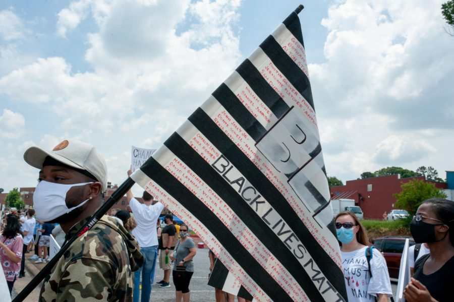 Supporters at the demonstration to end police brutality in Hickory, North Carolina June 6.