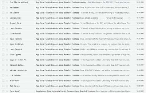 Faculty Senate members flood inboxes of board of trustees, administration for lack of communication