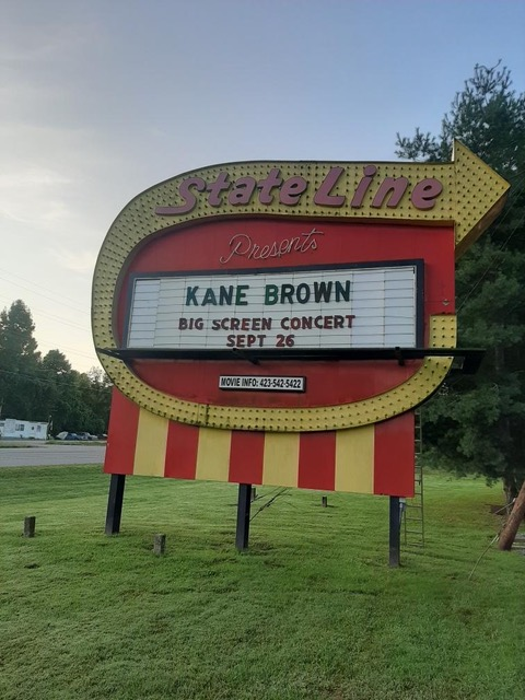The marquee of State Line Drive-in theater in Elizabethon, Teenessee. Owner Andy Wetzel has not only managed to keep his business afloat during the pandemic, but also perform better than in less trying times