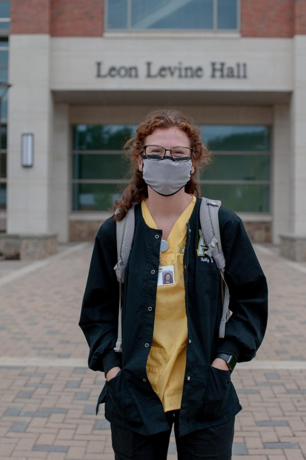 Holly Young, a nursing student ambassador for App State, stands in front of Leon Levine Hall Sept. 15. She said she feels safe with the nursing department's safety precautions.