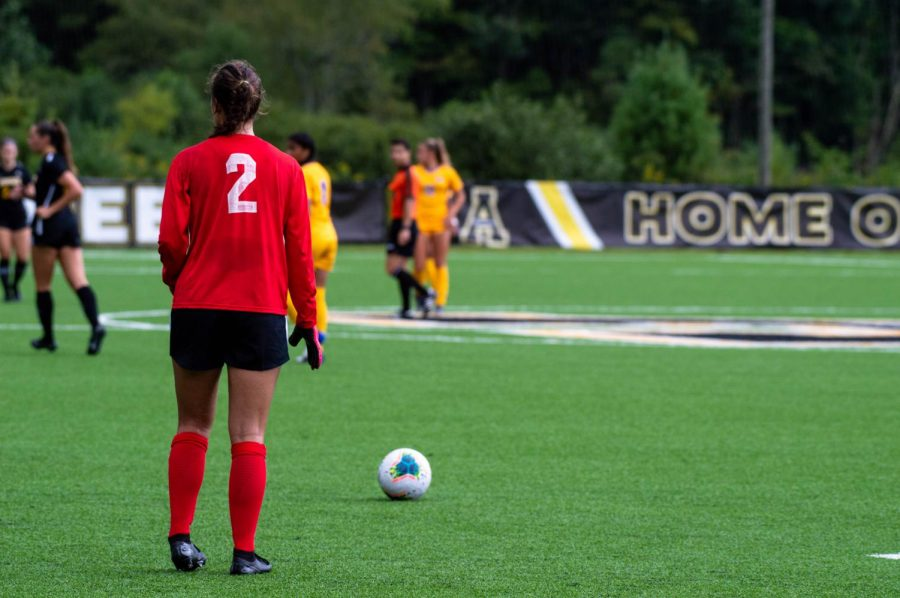 App State sophomore goalkeeper Kerry Eagleston prepares for a kick in the Mountaineers loss to Pitt on Sept. 13. She finished second in saves in the Sun Belt last year as a freshman and has been anchoring the Mountaineer defense in 2020.