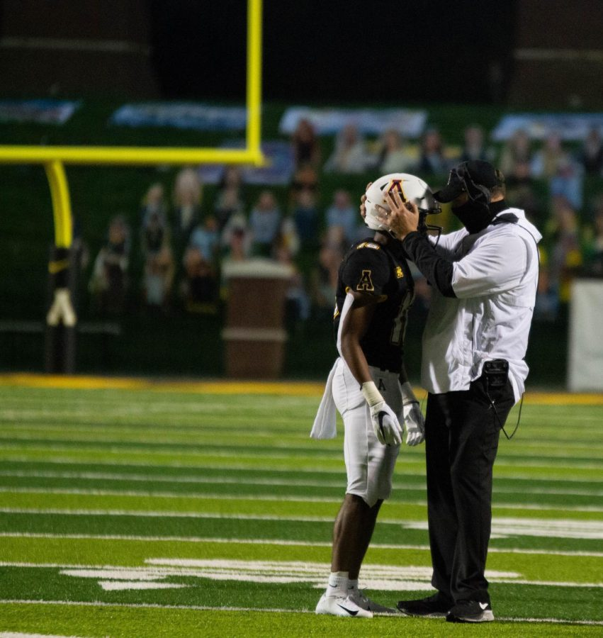 Coach Shawn Clark had a one-on-one moment with a player after a big drive that kept App State in the lead on Thursday night.