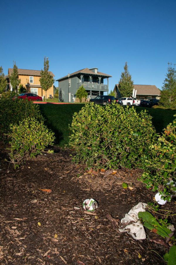 Trash and debris lays on the ground in the landscaping at The Cottages of Boone on September 30.