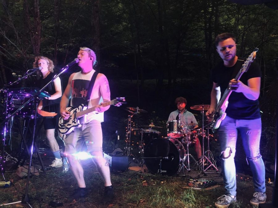 Elec McCready, Isaac McCready, Jackson Valentine and Ryan Wilson performing as American Scream. The band performed their socially distanced outdoor house show on Sept. 8 in an effort to entertain audiences during the COVID-19 pandemic.