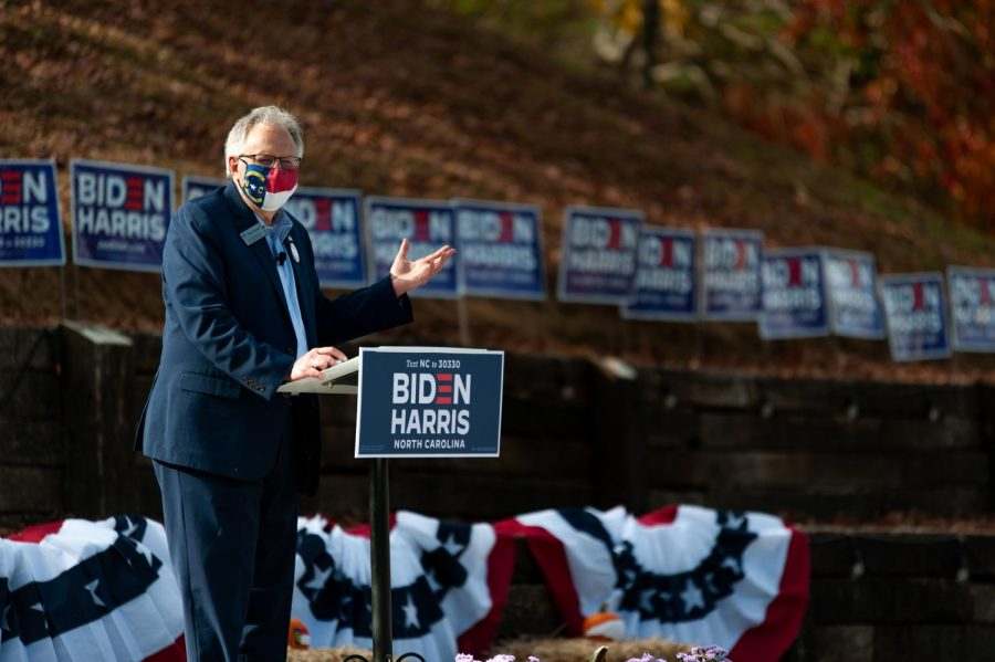 NC House representative Ray Russell gave a speech before Dough Emhoff arrived at a early voting mobilization event held at Booneshine Brewery in Boone, N.C. on October 26.