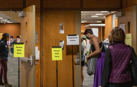 Community members wait in line outside the polling site in the Plemmons Student Union's Blue Ridge Ballroom on October 15, the first day of early voting.