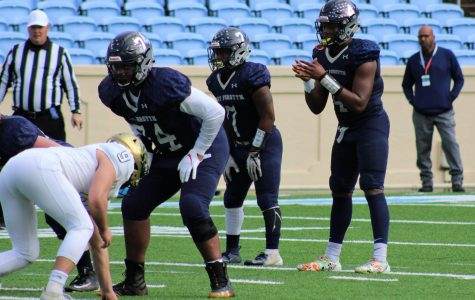East Forsyth High School offensive guard Jaden Lindsay (No. 74, pictured at left) is a reigning back-to-back 4A state champ. Lindsay committed to App State over Virginia Tech, Tennessee, Charlotte and more.