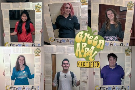 "Students celebrate being ""Green Appal certified."" The program helps students living on campus to be more sustainable."