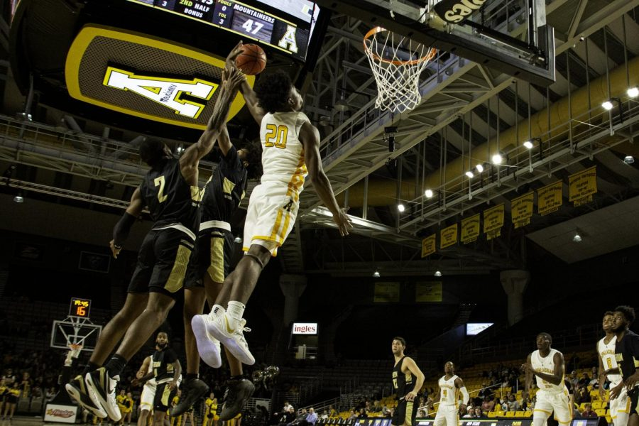App State junior guard Adrian Delph goes up for a dunk in last year's 83-56 win against Ferrum Nov. 7. Delph and the Mountaineers open the season at South Carolina State Nov. 25 at a time TBA.