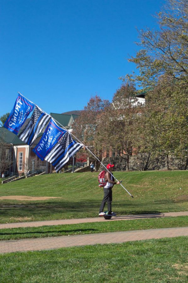 Today is America group rode into campus Friday afternoon holding