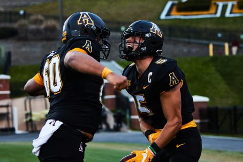Senior wide receiver Thomas Hennigan (right), started the 50th game of his App State career on Saturday against Georgia Southern. He caught eight passes for 64 yards and a touchdown in the win over the Eagles.