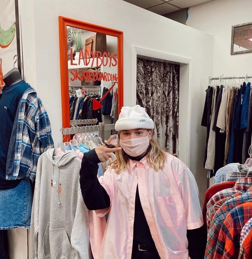 Josie Gagnon with her clothing line LadyBoys. Gagnon was inspired to create an inclusive skateboarding apparel company from her own doodles during quarantine.