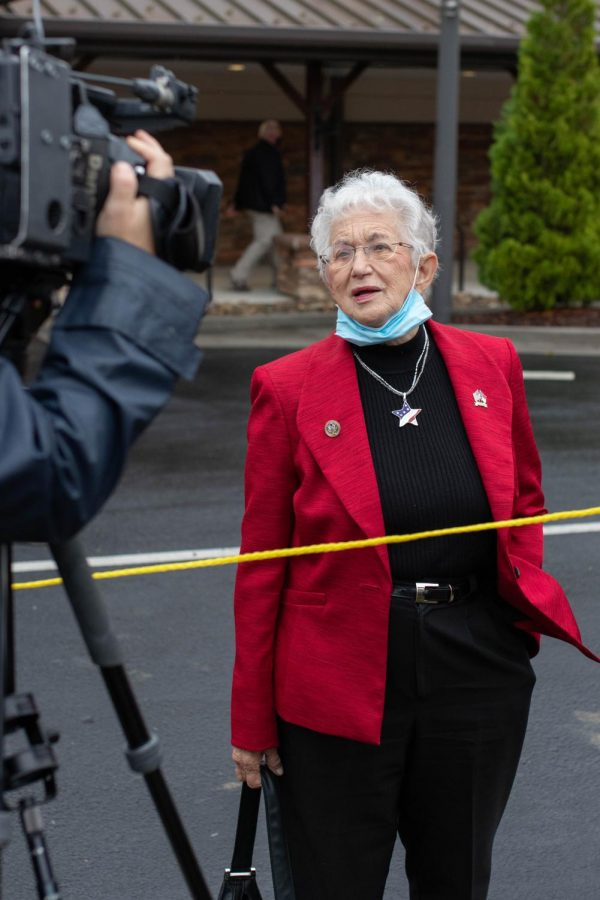 U.S. Representative Virginia Foxx speaks to press outside Alliance Bible Fellowship in Boone, NC while waiting for the arrival of Vice President Mike Pence, to whom she referred to as a