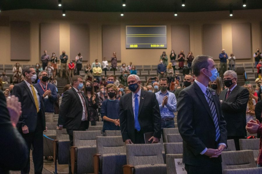 Vice President Mike Pence was greeted with a round of applause while attending the 9 a.m. worship service at Alliance Bible Fellowship in Boone Nov. 1.
