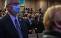 Vice President Mike Pence joined Franklin Graham, President of disaster relief organization Samaritans Purse, for the 9 a.m. worship service at Alliance Bible Fellowship in Boone on Nov. 1.