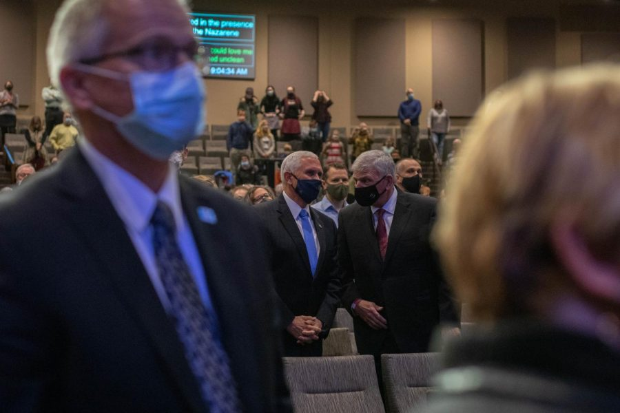 Vice President Mike Pence joined Franklin Graham, President of disaster relief organization Samaritan's Purse, for the 9 a.m. worship service at Alliance Bible Fellowship in Boone on Nov. 1.