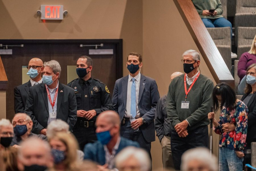 Boone Police Department Officers and Secret Service Agents flanked the entrances to the chapel during Pence's visit.