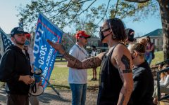 Protests and counterprotests related to the 2020 presidential election ensued on Sanford Mall Friday afternoon after several days of ballot counting.