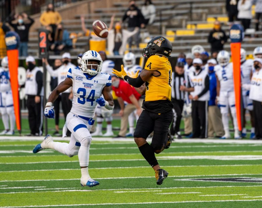 App State senior wide receiver Malik Williams reaches out to make a 55-yard catch in the third quarter that would set up the first Mountaineer touchdown of the game.